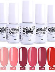 abordables -vernis à ongles 6 pcs couleur 145-150 xyp soak-off uv / led gel vernis à ongles couleur unie vernis à ongles ensembles