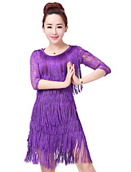 cheap -Latin Dance Outfits Women's Training / Performance Polyester / Lace / Milk Fiber Lace / Tassel / Split Joint 3/4 Length Sleeve High Skirts / Top