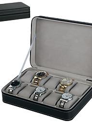 Недорогие -10 слотов пу часы органайзер для хранения молния дисплей коробка изысканный элегантный корпус часов