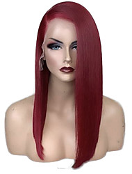 cheap -Synthetic Lace Front Wig Straight Side Part Lace Front Wig Burgundy Short Dark Wine Synthetic Hair 12-16 inch Women's Adjustable Heat Resistant Party Burgundy