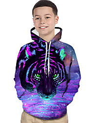 cheap -Kids Toddler Boys' Active Basic Tiger Geometric Print Color Block Print Long Sleeve Hoodie & Sweatshirt Purple / Animal