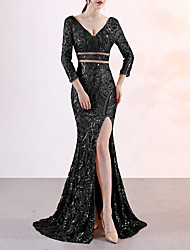 cheap -Mermaid / Trumpet Plunging Neck Sweep / Brush Train Sequined Elegant & Luxurious / Elegant Formal Evening Dress with Sequin 2020