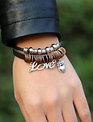 cheap -Men's Wrap Bracelet Vintage Bracelet Earrings / Bracelet Layered Alphabet Shape Heart Weave Simple Classic Vintage Ethnic Fashion Leather Bracelet Jewelry Black For Daily School Street Holiday