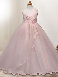 cheap -Princess Floor Length Flower Girl Dress - Polyester / Tulle Sleeveless Jewel Neck with Appliques / Crystals / Belt by LAN TING Express