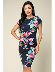 cheap -Women's Above Knee Sheath Dress - Short Sleeve Floral Ruched Patchwork Basic Wine Red Blushing Pink Navy Blue Light Blue S M L XL