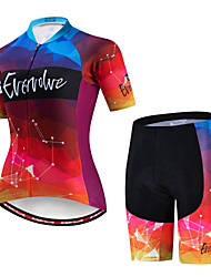 cheap -EVERVOLVE Women's Short Sleeve Cycling Jersey with Shorts Black Burgundy Lavender Gradient Bike Clothing Suit Breathable Moisture Wicking Quick Dry Anatomic Design Sports Cotton Lycra Geometry