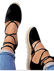 cheap -Women's Flats Flat Heel Round Toe Suede Summer Black / Light Grey / Light Pink