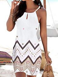 cheap -Women's Strap Dress Short Mini Dress - Sleeveless Geometric Print Summer Boho Holiday Vacation Beach 2020 White Black Red Blue S M L XL
