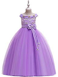 cheap -Ball Gown Midi Flower Girl Dress - Cotton Blend / Tulle Sleeveless Off Shoulder with Bow(s) / Sash / Ribbon / Cascading Ruffles