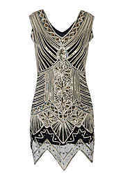 cheap -Diva Disco 1980s Dress Women's Sequins Costume Black Vintage Cosplay Prom Sleeveless Above Knee Sheath / Column