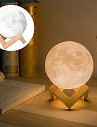 cheap -3D Moon Lamp 3 Color Change Flap LED Night Light Print Moon USB Home Decorating Bedside Lamp Christmas Gift for Baby and Kids