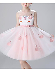 cheap -A-Line Knee Length Flower Girl Dress - Cotton / Polyester / Tulle Sleeveless Jewel Neck with Appliques / Bow(s) / Belt