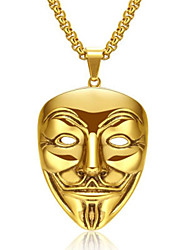 cheap -Men's Women's Gold Pendant Necklace Statement Necklace Chains Rolo Totem Series Face XOXO Statement Punk Trendy Rock 18K Gold Plated Chrome 24K Gold Plated Gold Silver 60 cm Necklace Jewelry 1pc For