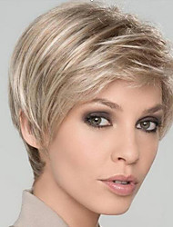 cheap -Synthetic Wig Natural Straight Asymmetrical Wig Blonde Short Light golden Synthetic Hair 6 inch Women's Party Women Blonde