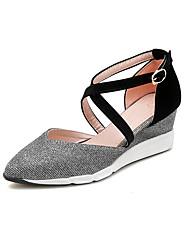 cheap -Women's Heels Wedge Heel Pointed Toe Microfiber Sweet / Minimalism Fall / Spring & Summer Black / Pink / Color Block