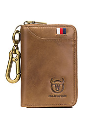 cheap -(Bullcaptain) Men'S Leather Car Key Bag Business Universal Door Lock Bag Soft Leather Multi-Card Position Coin Purse Key Bag