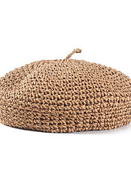 cheap -Straw Hats with Solid 1 Piece Casual / Daily Wear Headpiece
