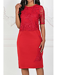 cheap -Women's Plus Size Party Daily Elegant Sheath Dress - Solid Colored Lace Summer Lace Red Blue S M L XL
