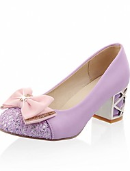 cheap -Women's Heels Stiletto Heels Chunky Heel Round Toe Bowknot / Sparkling Glitter Faux Leather Casual / Sweet Walking Shoes Fall / Spring & Summer Black / Almond / Purple / Daily / Pumps