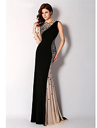 cheap -Mermaid / Trumpet Jewel Neck Sweep / Brush Train Chiffon Elegant Formal Evening Dress with Beading 2020