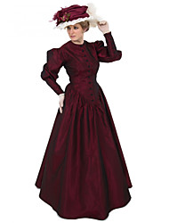 cheap -Duchess Victorian Ball Gown 1910s Edwardian Dress Party Costume Women's Costume Red Vintage Cosplay Masquerade Long Sleeve Floor Length Long Length Ball Gown Plus Size