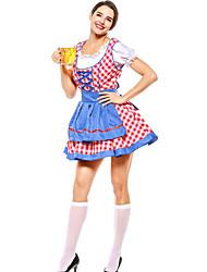 cheap -Oktoberfest Beer Dirndl Trachtenkleider Women's Blouse Dress Apron Bavarian Costume Blue Green