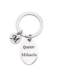 cheap -Personalized Customized Keychain Stainless Steel Gift Oval 1pcs Silver / Laser Engraving