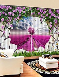 cheap -3D Digital Printing Custom Scenery Privacy Two Panels Polyester Curtain For Garden Living Room Decorative Waterproof Dust-proof High-quality Curtains