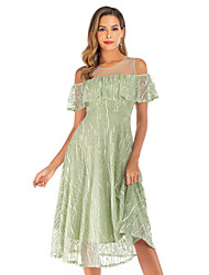 cheap -A-Line Elegant Cute Holiday Cocktail Party Dress Jewel Neck Short Sleeve Tea Length Lace Tulle with Ruffles Tier Lace Insert 2020