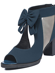 cheap -Women's Boots Chunky Heel Peep Toe Bowknot Synthetics Booties / Ankle Boots Sweet / British Spring &  Fall / Summer Black / Blue