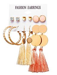 cheap -Women's Stud Earrings Drop Earrings Hoop Earrings Tassel Heart Bohemian Boho Gold Plated Earrings Jewelry Gold For Party Gift Carnival Holiday Club 6 Pairs