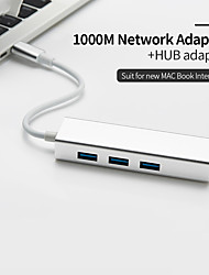 cheap -USB C Ethernet Rj45 Lan Adapter 3 Port USB Type C Hub 10/100/1000Mbps Gigabit Ethernet USB 3.0 Network Card for MacBook