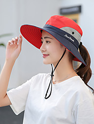 cheap -Hiking Hat Fishing Hat Fisherman Hat Hat 1 PCS Portable Sunscreen UV Resistant Breathable Patchwork Cotton Autumn / Fall Spring Summer for Women's Camping / Hiking Hunting Fishing Purple Yellow Red