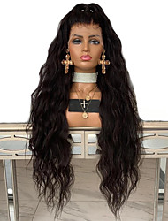 cheap -Synthetic Lace Front Wig Wavy Middle Part Lace Front Wig Long Natural Black #1B Synthetic Hair 18-26 inch Women's Adjustable Heat Resistant Party Black