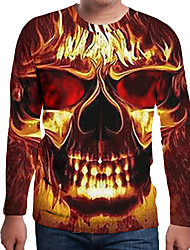 cheap -Men's 3D Graphic Print T-shirt Holiday Daily Wear Round Neck Orange / Long Sleeve / Skull