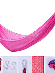 cheap -Camping Hammock Outdoor Portable Breathable Ultra Light (UL) Ice Silk with Carabiners and Tree Straps for 1 person Hunting Beach Camping Green Pink Violet 250*130 cm / Anti-Rollover