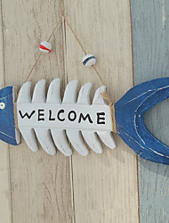 cheap -1PC Mediterranean Style Creative Wooden Fish Bone Welcome Card Home Decor Decorative Plaque Bars Welcome Wall Door Hanger