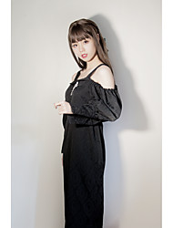 cheap -Artistic / Retro Traditional / Vintage Vintage Dress Party Costume Costume Party Dress Female Japanese Cosplay Costumes Black Solid Colored Vintage Lace Bishop Sleeve Long Sleeve Midi