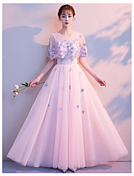 cheap -A-Line Elegant Prom Dress Jewel Neck Sleeveless Floor Length Lace Satin Tulle with 2020