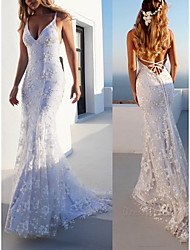 cheap -Mermaid / Trumpet V Neck Sweep / Brush Train Lace Spaghetti Strap Casual Backless Wedding Dresses with Appliques 2020