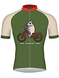 abordables -21Grams Tour de hamster Homme Manches Courtes Maillot Velo Cyclisme - Vert de forêt Vélo Maillot Hauts / Top Respirable Séchage rapide Bandes Réfléchissantes Des sports 100 % Polyester VTT Vélo tout