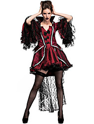 cheap -Vampire Dress Cosplay Costume Masquerade Adults' Women's Cosplay Halloween Christmas Halloween Carnival Festival / Holiday Lace Polyster Red Women's Carnival Costumes Holiday Lace Halloween