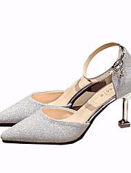 cheap -Women's Heels Kitten Heel Sequin PU(Polyurethane) Casual Summer Black / Silver / Pink