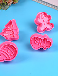 cheap -4Pcs/set Kitchen Cookie Biscuit Mold Silicone Cookie Baking Cutter Mould for Christmas