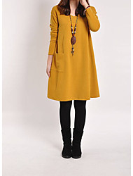 cheap -Women's Solid Colored Long Sleeve Pullover Sweater Jumper, Round Neck Fall / Winter Light Brown / Yellow / Gray M / L / XL