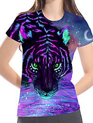 cheap -Women's Street Casual / Daily Basic / Exaggerated Plus Size Loose T-shirt - 3D / Graphic / Animal Print Purple