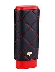 Недорогие -Портсигар Cohiba 2 черный красный футляр из натуральной кожи с внутренней подкладкой из кедра, упакованный красивой подарочной коробкой