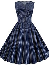 abordables -Femme Rétro Vintage Chic de Rue Midi Noir Mousseline de Soie Robe - Imprimé, Points Polka Rayé Fleur Jaune Bleu clair Bleu royal L XL XXL Sans Manches