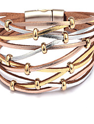 cheap -Women's Loom Bracelet Braided Weave Sweet Fashion Genuine Leather Bracelet Jewelry AB White Color For Daily