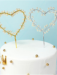 cheap -Loving Heart Shape Iron Wire Cake Topper Decoration